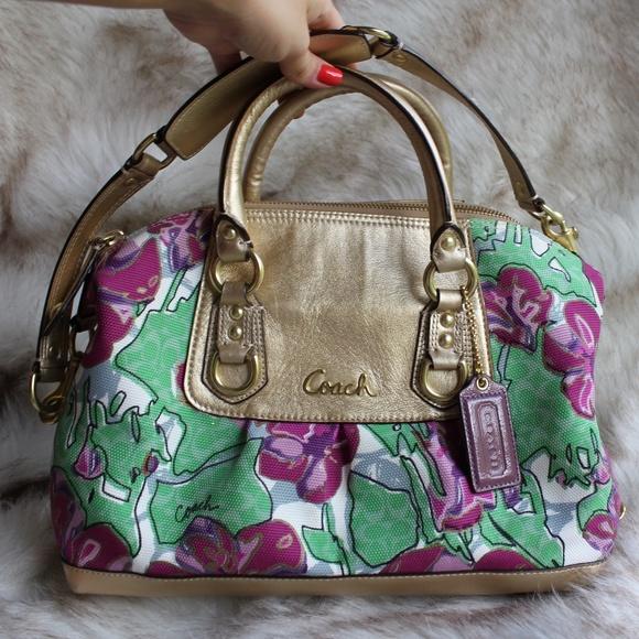 Coach Handbags - Coach Gold & Floral Satchel